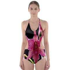 Orchid Flower Branch Pink Exotic Black Cut Out One Piece Swimsuit