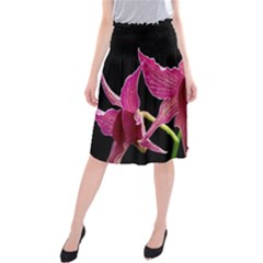 Orchid Flower Branch Pink Exotic Black Midi Beach Skirt