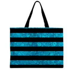 Stripes2 Black Marble & Turquoise Marble Zipper Mini Tote Bag by trendistuff