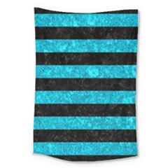 Stripes2 Black Marble & Turquoise Marble Large Tapestry by trendistuff