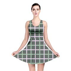 Pink And Green Tiles On Dark Green Reversible Skater Dress