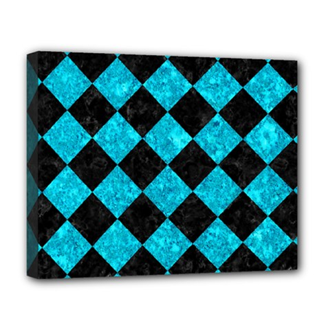 Square2 Black Marble & Turquoise Marble Deluxe Canvas 20  X 16  (stretched) by trendistuff