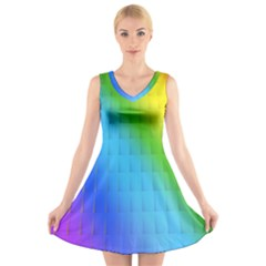 Rainbow Color Orange Yellow Green Purple V Neck Sleeveless Skater Dress