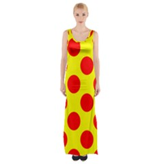 Red Circle Yellow Maxi Thigh Split Dress by Jojostore