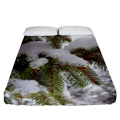 Brad Snow Winter White Green Fitted Sheet (california King Size)