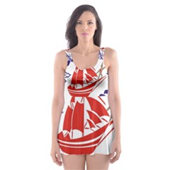 Sailing Boat Skater Dress Swimsuit