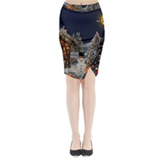 Christmas Landscape Midi Wrap Pencil Skirt