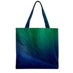 Sea Wave Water Blue Zipper Grocery Tote Bag by Jojostore