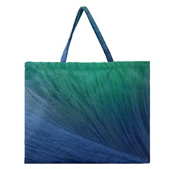 Sea Wave Water Blue Zipper Large Tote Bag