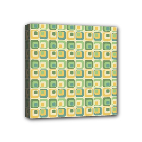 Square Green Yellow Mini Canvas 4  X 4  by Jojostore