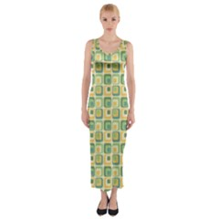 Square Green Yellow Fitted Maxi Dress