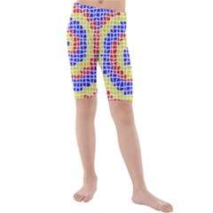 Red Blue Yellow Kids  Mid Length Swim Shorts