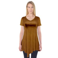Simple Wood Widescreen Short Sleeve Tunic  by Jojostore