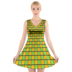 Tile Of Yellow And Green V Neck Sleeveless Skater Dress