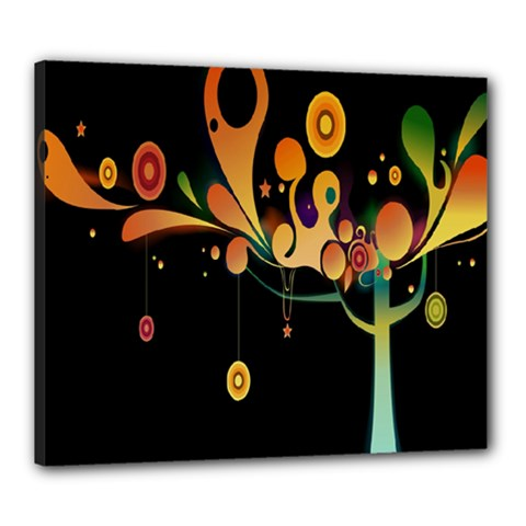 Tree Circle Orange Black Canvas 24  X 20  by Jojostore