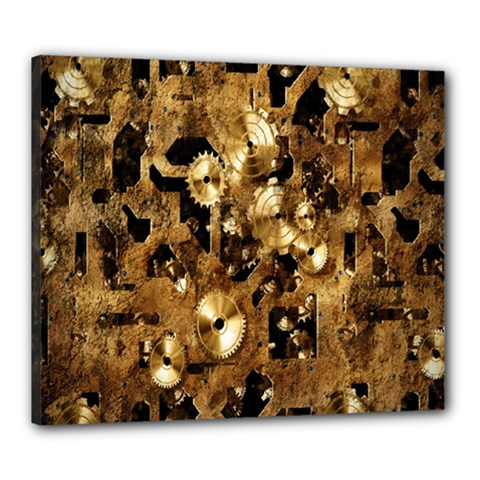 Steampunk Grunge Gold Cogs Canvas 24  X 20  by Jojostore