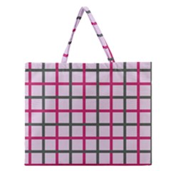 Tiles On Light Pink Zipper Large Tote Bag by Jojostore