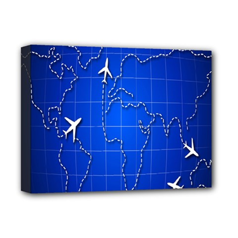 Unique Air Travel World Map Blue Sky Deluxe Canvas 16  X 12   by Jojostore