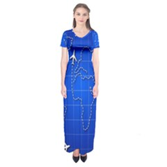 Unique Air Travel World Map Blue Sky Short Sleeve Maxi Dress