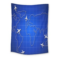Unique Air Travel World Map Blue Sky Medium Tapestry