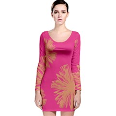 Yellow Flowers On Pink Background Pink Long Sleeve Velvet Bodycon Dress