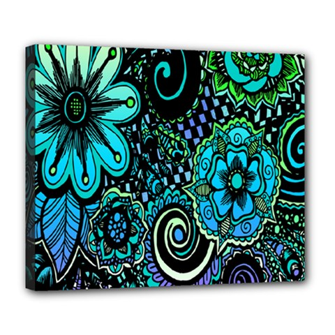 Sunset Floral Flower Green Deluxe Canvas 24  X 20   by Jojostore