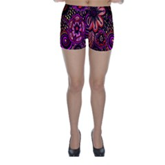 Sunset Floral  Flower Purple Skinny Shorts