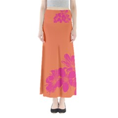 Flower Orange Pink Maxi Skirts