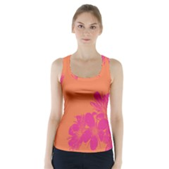 Flower Orange Pink Racer Back Sports Top