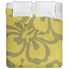 Flower Gray Yellow Duvet Cover Double Side (california King Size)