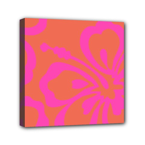 Flower Pink Orange Mini Canvas 6  X 6  by Jojostore