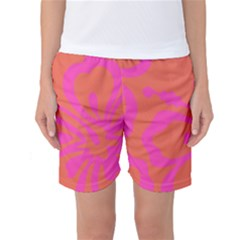 Flower Pink Orange Women s Basketball Shorts