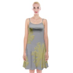 Flower Yellow Gray Spaghetti Strap Velvet Dress