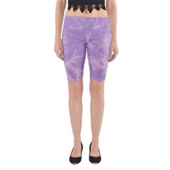 Flower Purple Gray Yoga Cropped Leggings