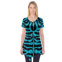 Skin2 Black Marble & Turquoise Marble Short Sleeve Tunic  by trendistuff