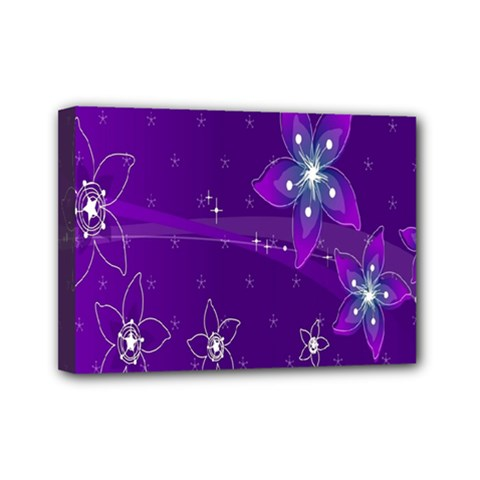 Flowers Purple Mini Canvas 7  X 5  by Jojostore