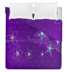 Flowers Purple Duvet Cover Double Side (queen Size) by Jojostore