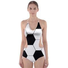 Foolball Ball Sport Soccer Cut Out One Piece Swimsuit