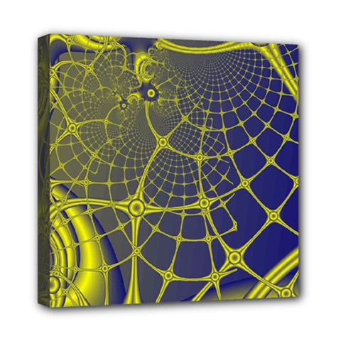 Futuristic Looking Fractal Graphic A Mesh Of Yellow And Blue Rounded Bars Mini Canvas 8  X 8  by Jojostore