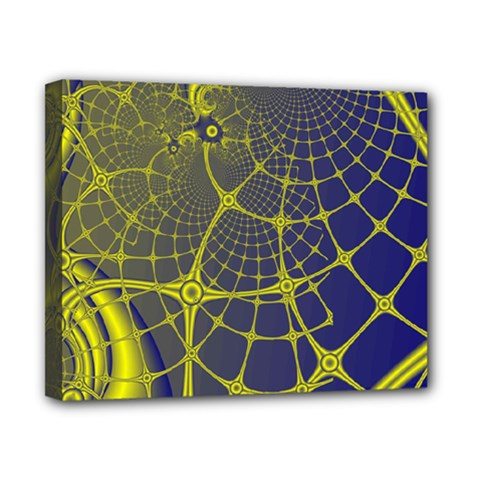 Futuristic Looking Fractal Graphic A Mesh Of Yellow And Blue Rounded Bars Canvas 10  X 8  by Jojostore