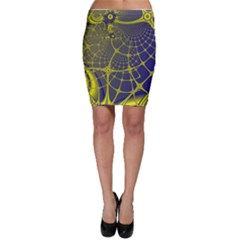 Futuristic Looking Fractal Graphic A Mesh Of Yellow And Blue Rounded Bars Bodycon Skirt