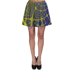 Futuristic Looking Fractal Graphic A Mesh Of Yellow And Blue Rounded Bars Skater Skirt by Jojostore