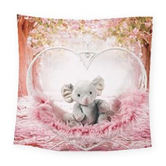 Elephant Heart Plush Vertical Toy Square Tapestry (large)