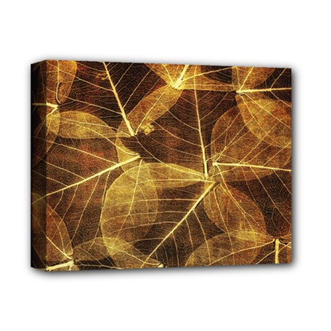 Leaves Autumn Texture Brown Deluxe Canvas 14  X 11  by Amaryn4rt