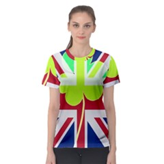 Irish British Shamrock United Kingdom Ireland Funny St  Patrick Flag Women s Sport Mesh Tee