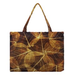 Leaves Autumn Texture Brown Medium Tote Bag by Amaryn4rt