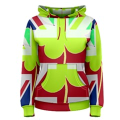 Irish British Shamrock United Kingdom Ireland Funny St  Patrick Flag Women s Pullover Hoodie