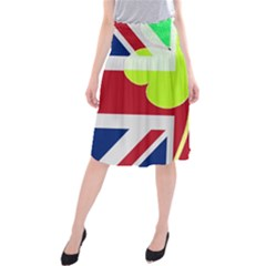 Irish British Shamrock United Kingdom Ireland Funny St  Patrick Flag Midi Beach Skirt