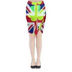 Irish British Shamrock United Kingdom Ireland Funny St  Patrick Flag Midi Wrap Pencil Skirt