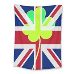Irish British Shamrock United Kingdom Ireland Funny St  Patrick Flag Medium Tapestry